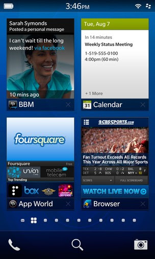 Tela principal do sistema BlackBerry 10 (Foto: TechTudo)