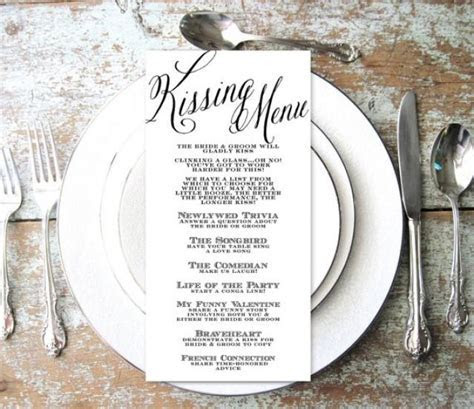 Kissing Menu, Wedding Kissing Menu, Elegant, Script