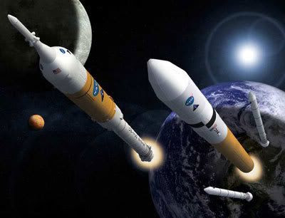 An artist's concept of the Ares I and Ares V launch vehicles.