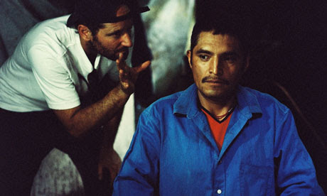 Mexican director Carlos Reygades on the set of his film, Post Senebras Lux.