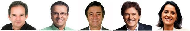 Araken Farias (PSL), Henrique Eduardo Alves (PMDB), Professor Robério Paulino (PSOL), Robinson Faria (PSD) e Simone Dutra (PSTU) são candidatos ao governo do RN (Foto: Divulgação/Assessorias de campanha)