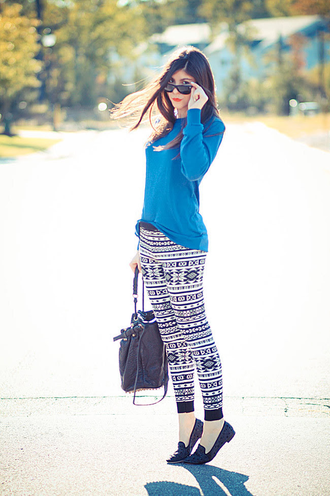 Alexander Wang Diego Bucket bag, American Apparel sweater, Hue ski leggings, Sam Edelman Adena Spike loafers, Fashion Outfit