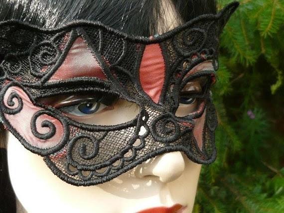 Lace Mask and Choker Swarovski Crystal Halloween Goth