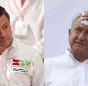 El aspirante presidencial priista, Enrique Peña Nieto y su homólogo perredista, Andrés Manuel López Obrador. Foto: Eduardo Miranda y Benjamin Flores