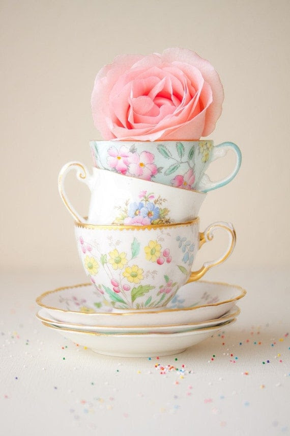 Tea Cups and a Rose still life photography print 8x12