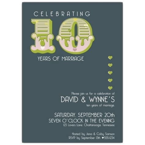 Big Ten 10th Anniversary Invitations   PaperStyle
