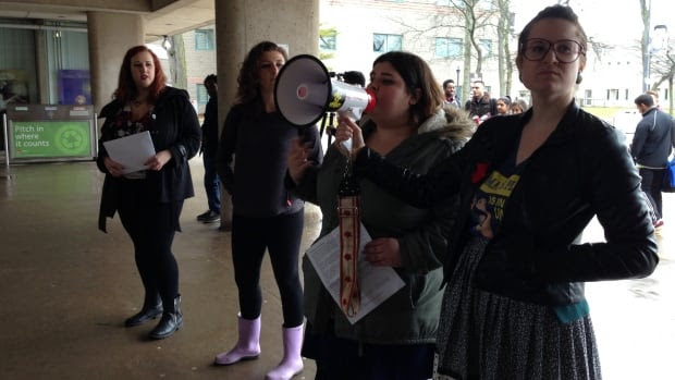 """Protesters at Brock University on Tuesday issued a list of demands for the university, including a """"student-centred"""" sexual assault policy and the resignations of both the  professor in question and the administrator who handled the complaint."""