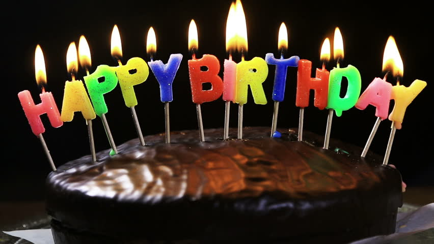 Festive Candles HAPPY BIRTHDAY On A Cake Stock Footage ...