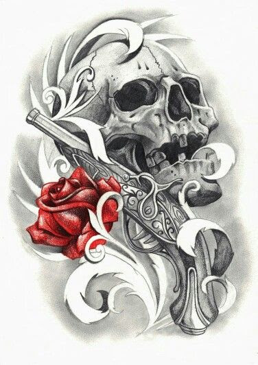 Red Rose And Skull And Gun Tattoo Design