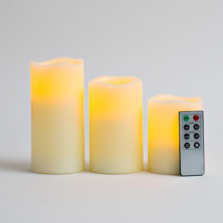 Variety Set of 3 Melted Edge Flameless Ivory Wax Pillar ...