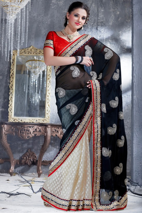 Indian-Brides-Bridal-Wedding-Party-Wear-Embroidered-Saree-Design-New-Fashion-Reception-Sari-4