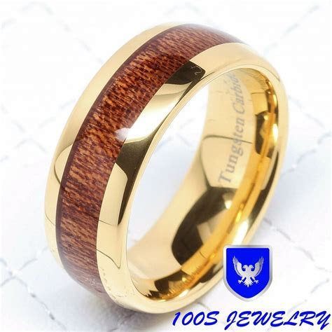 8MM Mens Tungsten Ring Wood Inlay 14k Gold Plated Wedding
