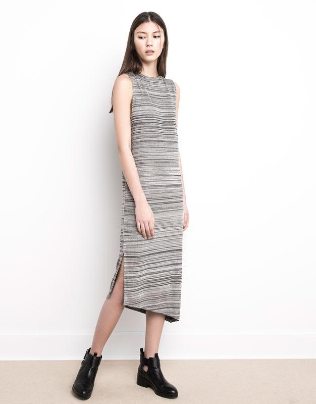 Pull&Bear - mujer - vestidos - vestido rayas bajo desigual - grisaceo - 05390362-V2016