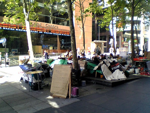 Occupy Sydney Camp in Martin Place, Sydney, outside the Channel Seven studio.