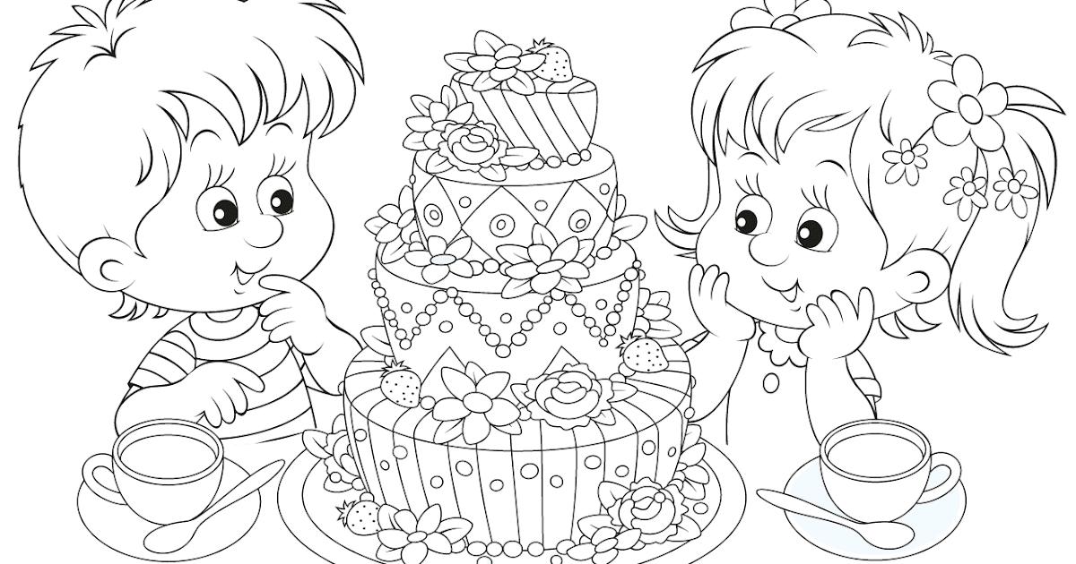 kleurplaten kleurplaat taart 25 allerleukste taarten