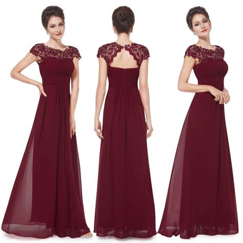 uk  pretty cap sleeve burgundy bridesmaid dress long