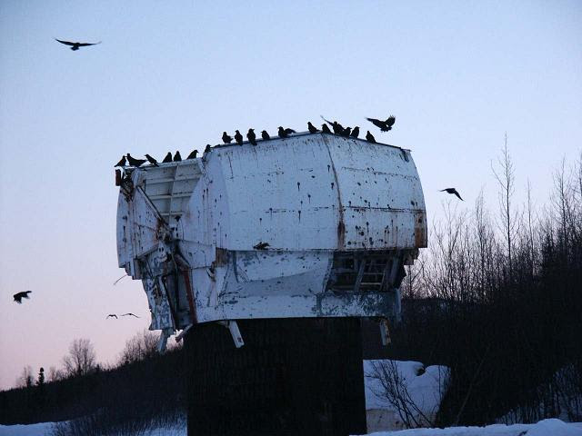 File:Old NIKE Missile radar dome with ravens.JPG