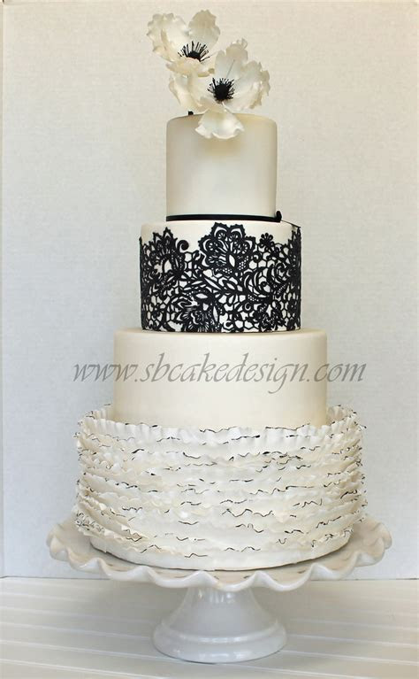 Black And White Wedding Cake   CakeCentral.com