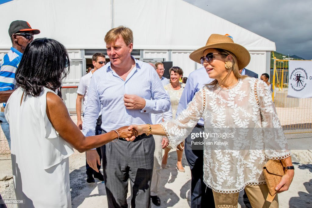 King Willem-Alexander Of The Netherlands And Queen Maxima Visit St Maarten : News Photo