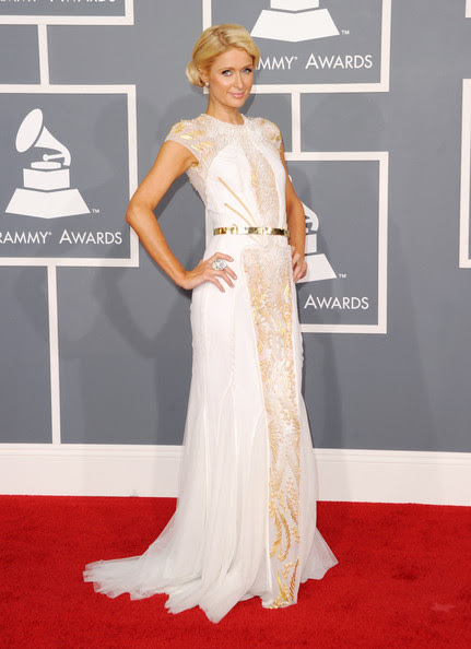 TV personality Paris Hilton arrives at the 54th Annual GRAMMY Awards held at Staples Center on February 12, 2012 in Los Angeles, California.