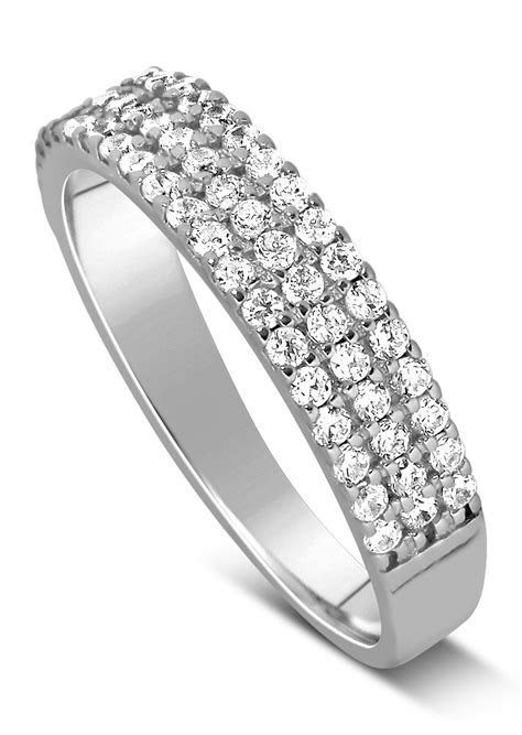 Unique 3 Row 1 Carat Round Diamond Wedding Ring Band in
