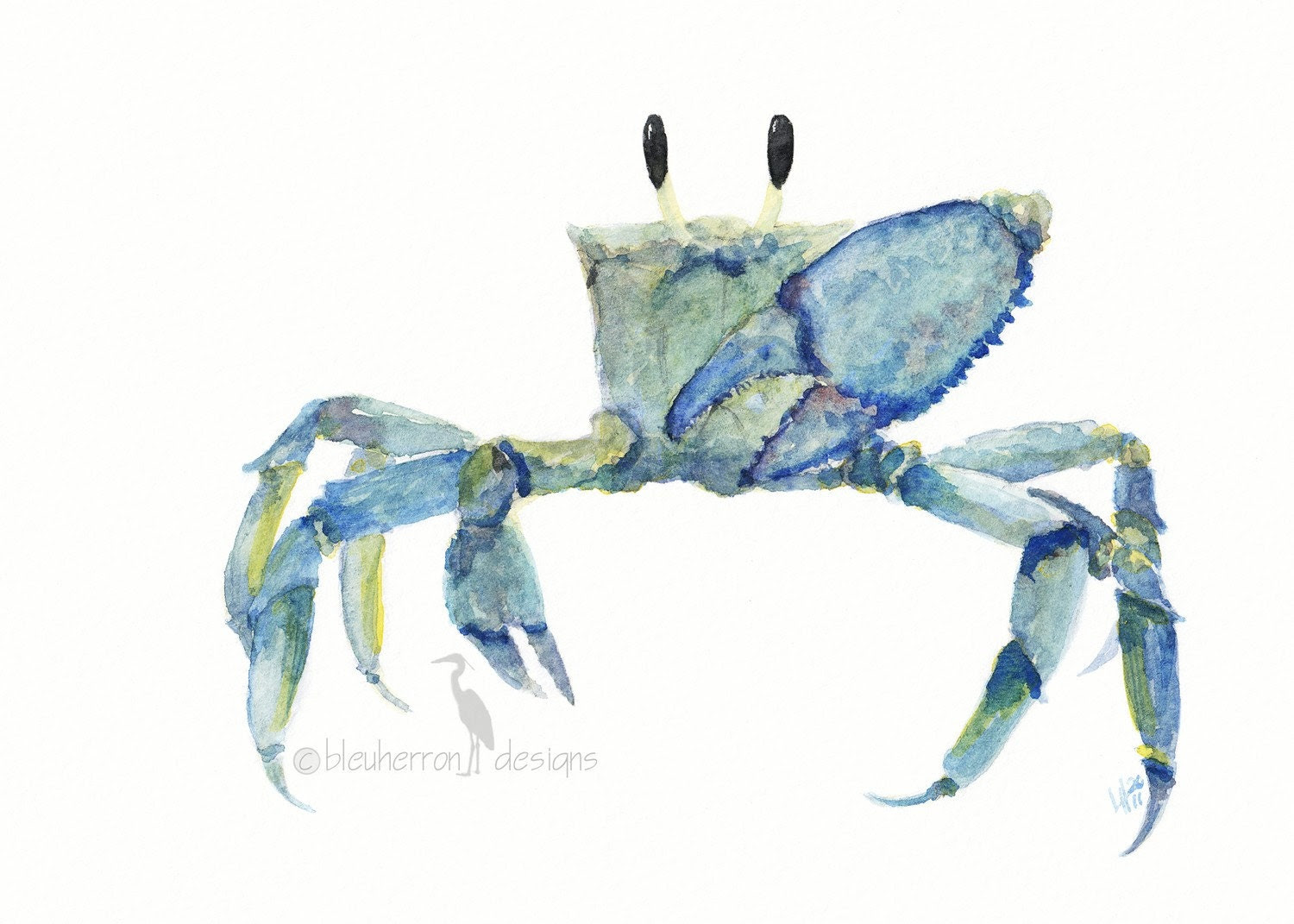 Ocean watercolor- Blue Crab - 5x7 watercolor print - bleuherron