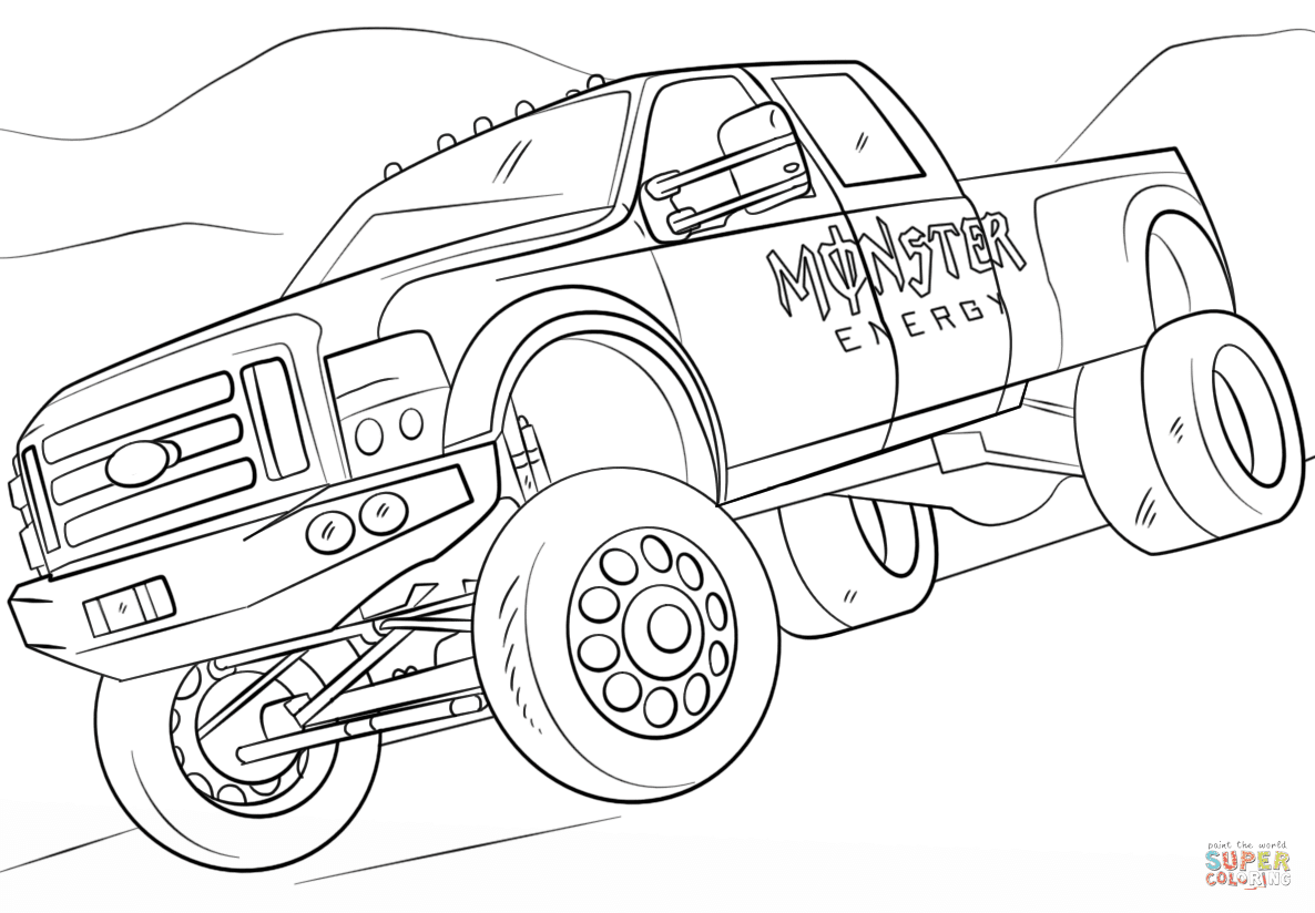 Monster Energy Monster Truck coloring page | Free ...
