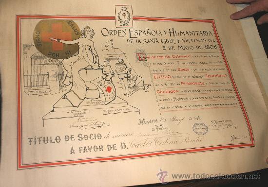 1910, CONCESIÓN DE LA ORDEN ESPAÑOLA Y HUMANITARIA DE LA SANTA CRUZ Y VICTIMAS DEL 2 DE MAYO DE 1808 (Militar - Medallas Españolas Originales )