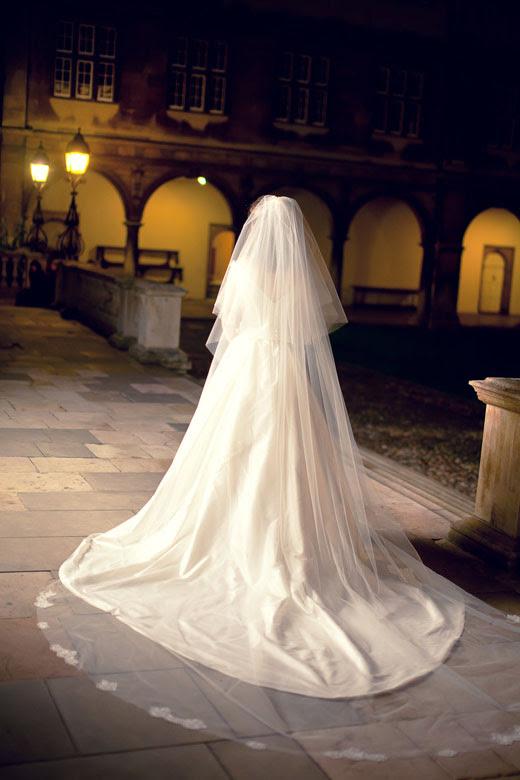 Meu véu com costurado à mão apliques de renda: casamento AshHannah 7541