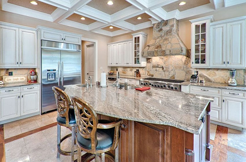 luxury kitchen with island and lennon granite slab countertop