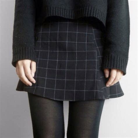 skirt sweater black grid black skirt black stockings