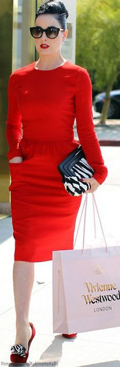 Chic In The City- Red Dress and Shopping Chic- ~LadyLuxury~