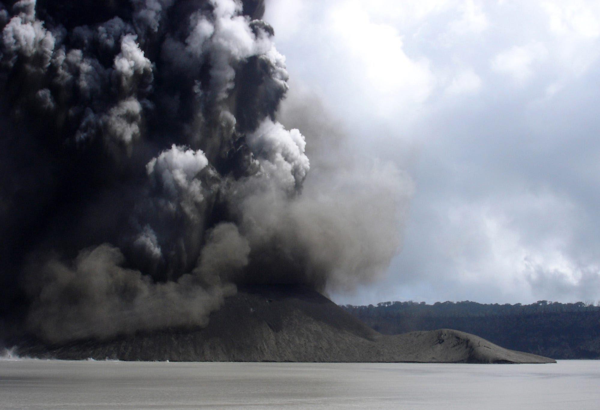 Vanuatu volcano erupting