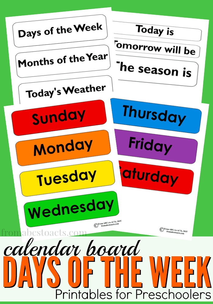 Days of the Week Calendar Board Printable | From ABCs to ACTs