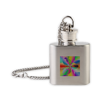 Fractal Fire Flower Flask Necklace