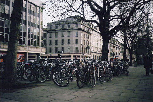 Bikes on O'Connell Street, Dublin, 2004