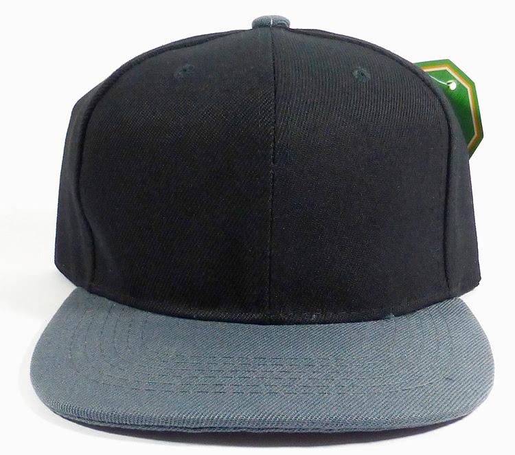 KIDS Jr. Blank Snap back Hats Wholesale - Two Tone - Black   D. Gray