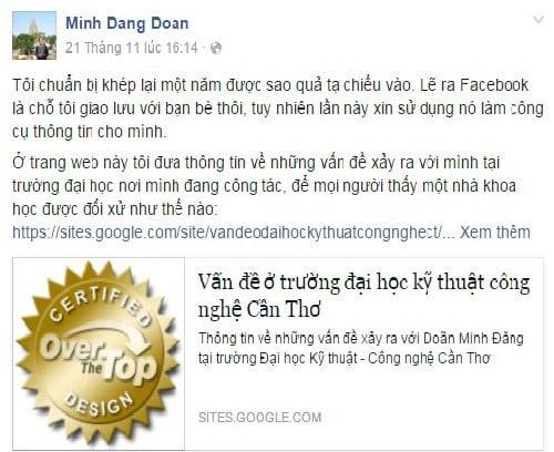 """Hình ảnh Phó trưởng khoa bị cách chức vì """"nói xấu"""" trường trên Facebook số 1"""