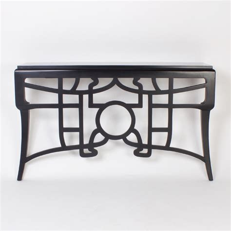 art nouveau style black lacquered wall mounted console