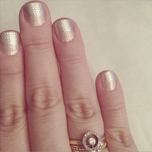 LE FASHION BLOG INSTAGRAM Essie nail strips vintage halo diamond ring Bittersweets NY teensy diamond ring Gabriela Artigas beaded Ring Jennifer Meyer tiny diamond ring 9
