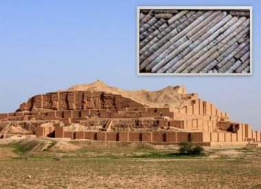 <p>Piezas de vidrio (arriba) que fueron usadas en la decoración de puertas y paredes del templo de Chogha-Zanbil. / Mohammadamin Emami</p>