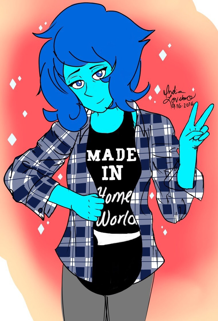 """Today's Lapis of the Day is brought to you by: """"90's grunge Lazuli!! :3 (she's wearing my OOTD from Friday :3)"""" (Fanart by @lapis-lover-tehisle!!)"""