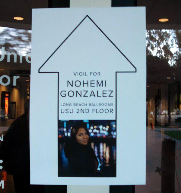 A vigil is held for Nohemi Gonzalez inside the University Student Union at CSULB...on November 15, 2015.