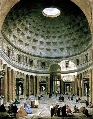 The interior of the Pantheon in the 18th centu...