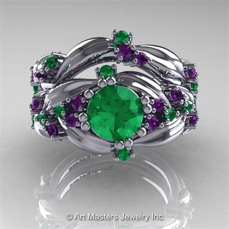 Nature Classic 14K White Gold 1.0 Ct Emerald Amethyst Leaf