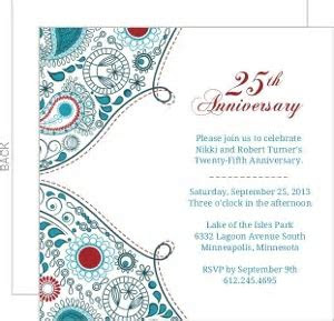 25th Anniversary Invitations & Anniversary Invites by