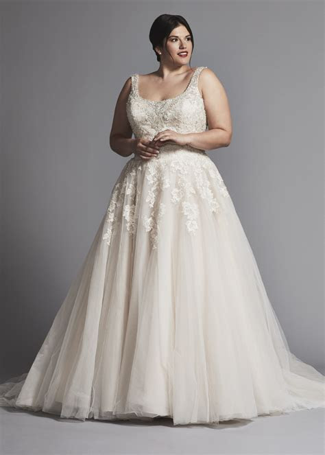 Beaded Scoop Neck With Tulle Skirt Wedding Dress