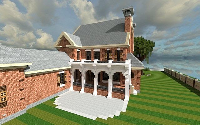 Plantation Home Country Old Brick minecraft house ideas 2