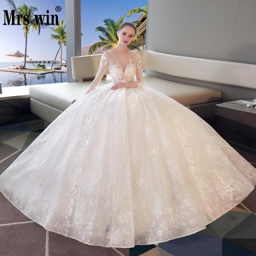 aed38e49cf Special Price Vestido De Novias 2018 The Bridal Off White Lace Ball Gown  Long Sleeve Luxury Lace Embroidery Sexy Illusion Wedding Dresses