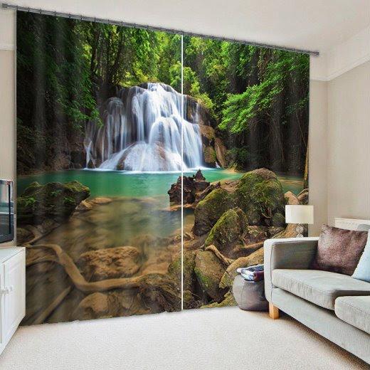 Beautiful 3D Deep Forest Waterfall Blackout Curtain